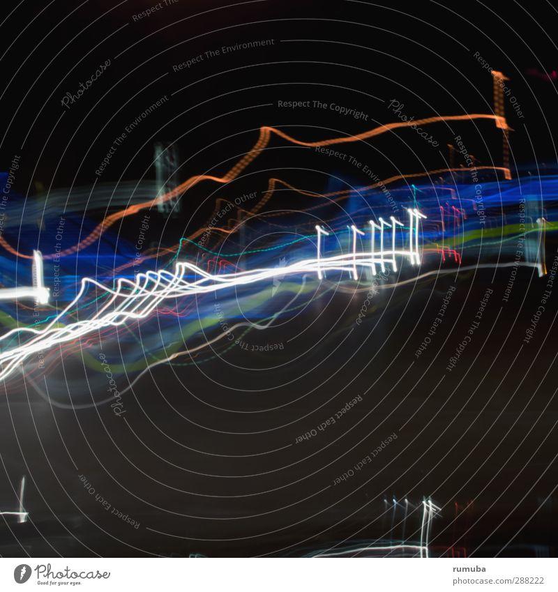 light traces Lifestyle Entertainment High-tech Transport Stripe Glittering Blue Black White Reflection Light Light (Natural Phenomenon) Car headlights Movement
