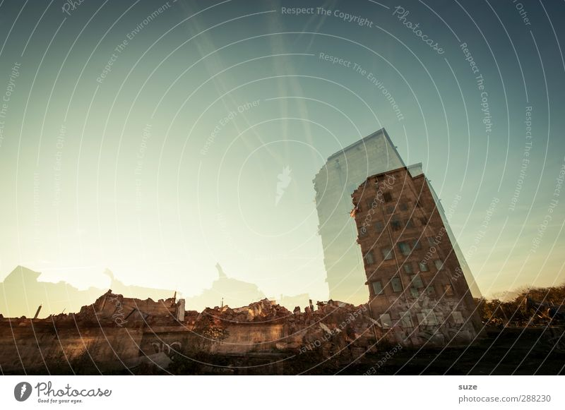 Sky City House (Residential Structure) Environment Window Architecture Building Stone Exceptional Facade Stand Broken Transience Threat Construction site
