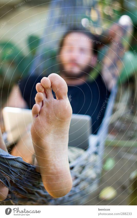 food Feet Toes Hammock Tattoo Tattooed Legs Man Human being Young man Lie Summer Exterior shot Barefoot Nature White Caucasian European Close-up