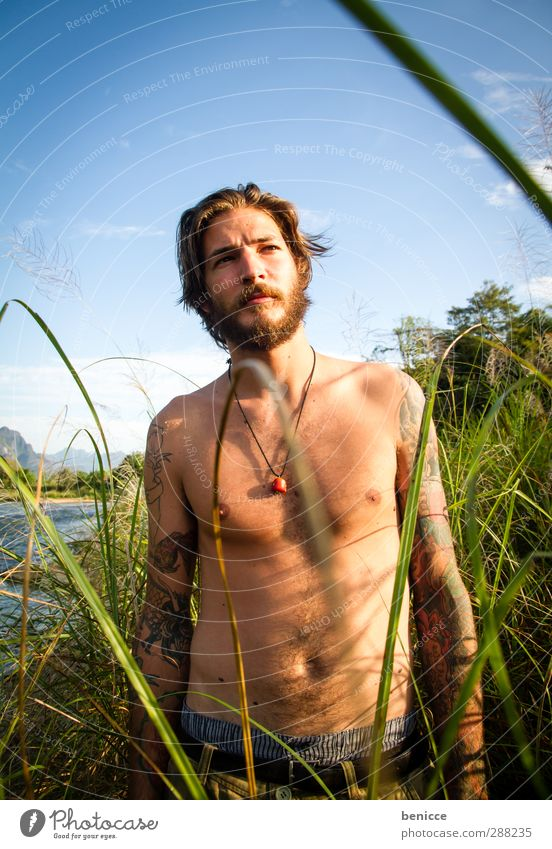 Beard Man Human being Young man Nature Grass Common Reed Eroticism Stand Masculine Exterior shot Lake River Portrait photograph Facial hair Naked Upper body