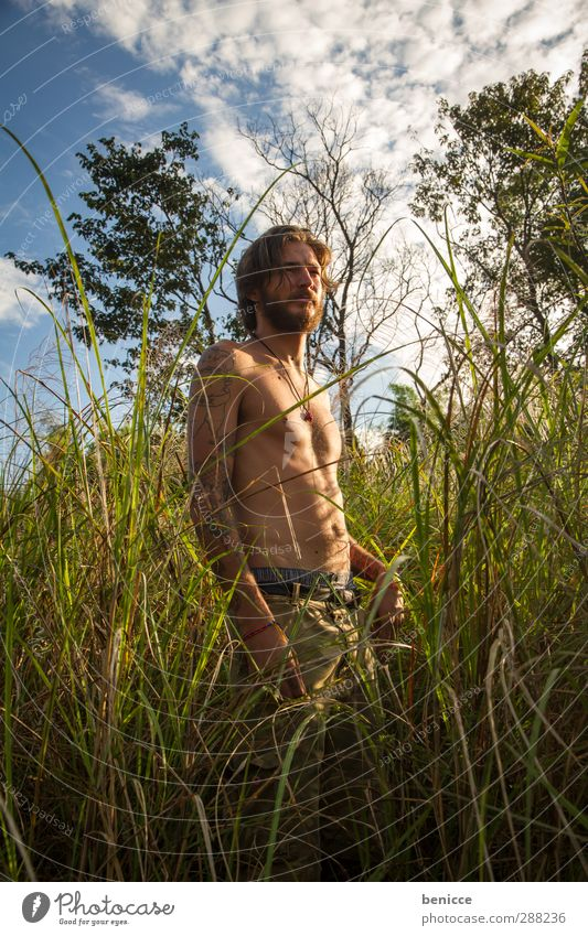 grassy Man Human being Young man Nature Grass Common Reed Eroticism Stand Masculine Exterior shot Lake River Portrait photograph Facial hair Beard Naked