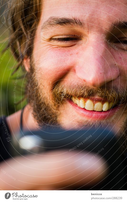 happy message Man Human being Cellphone Telephone iPhone Reading Portrait photograph Close-up Looking SMS Curiosity Face Eyes Facial hair Beard Earnest Laughter