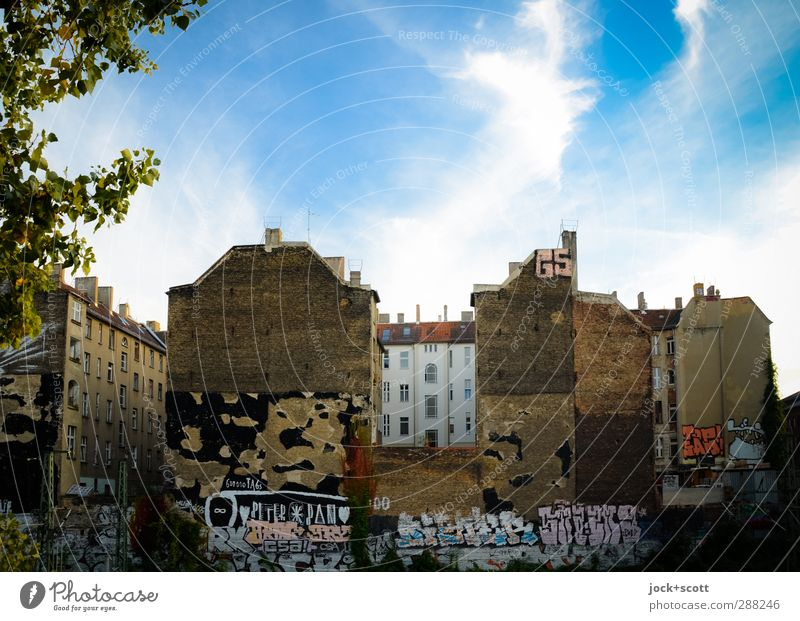 Sky City Old Summer Tree Calm Clouds House (Residential Structure) Graffiti Architecture Building Stone Moody Facade Idyll Free