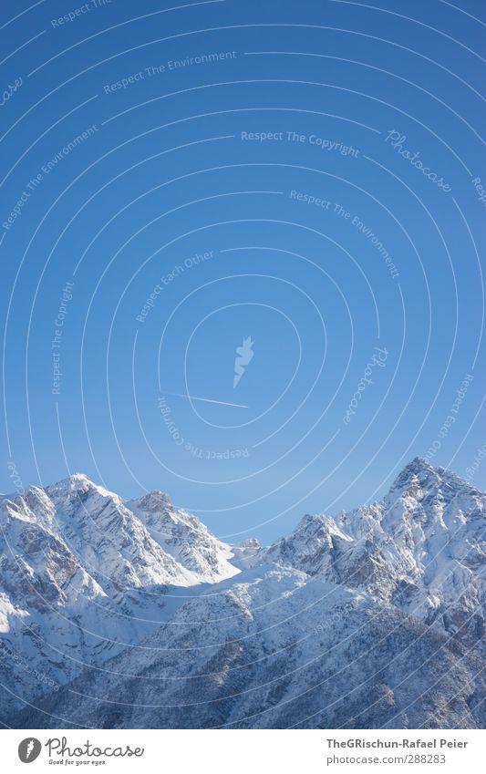 se biuty of se Engadin Landscape Sky Cloudless sky Beautiful weather Snow Alps Mountain Peak Snowcapped peak Cold Engadine Forest Airplane Tracks Blue Blue sky