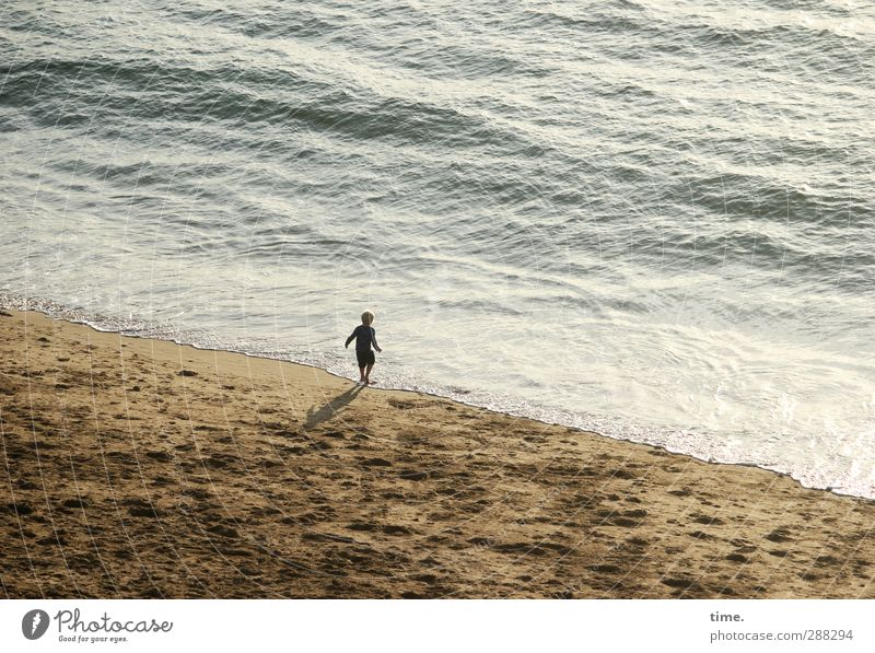 adventure holiday Child Boy (child) Infancy Life 3 - 8 years Sand Water Beautiful weather Waves Coast Beach Observe Walking Playing Small Wet Joy Happy