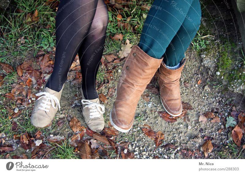 these boots... Feminine Youth (Young adults) Legs Feet 2 Human being 13 - 18 years Child Environment Pants Tights Footwear Boots Friendship Sit Posture Knee