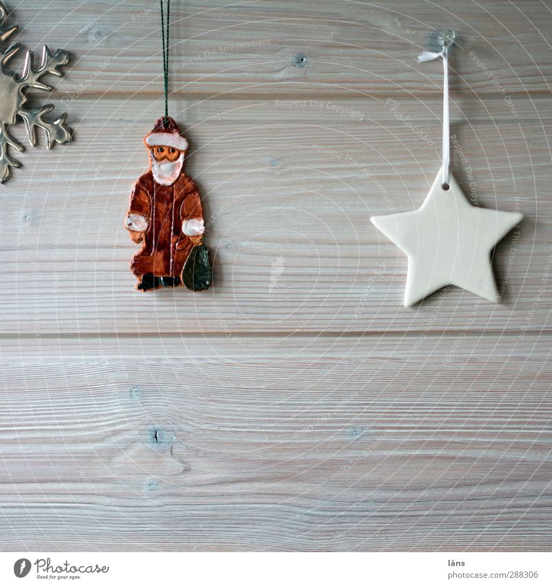 Christmas & Advent Feasts & Celebrations Flat (apartment) Living or residing Decoration Star (Symbol) Santa Claus Anticipation Wooden wall Snow crystal