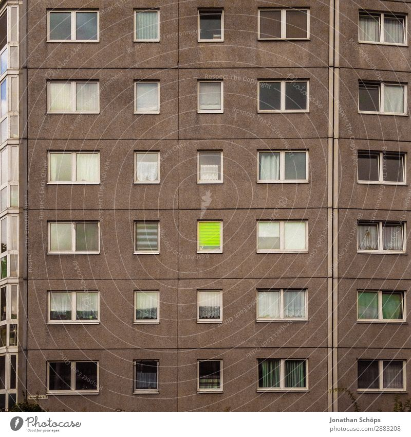 Town Colour House (Residential Structure) Loneliness Window Architecture Building Facade Living or residing High-rise Gloomy Esthetic Happiness Poverty