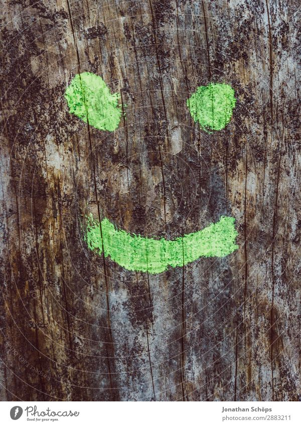 smile Art Good Hip & trendy Smiling Laughter Emotions Painted Graffiti Tree Wood Structures and shapes Simple Green Smiley Grinning Positive