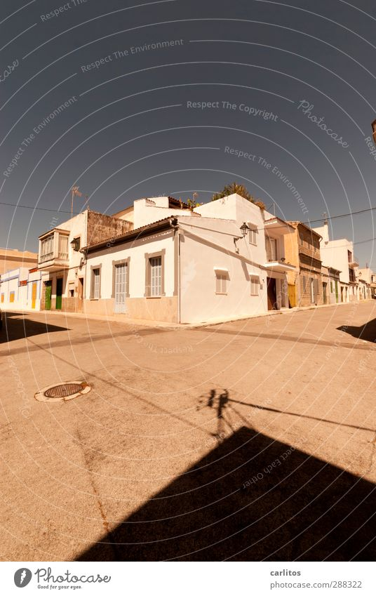 short-trouser weather Sky Cloudless sky Summer Beautiful weather Warmth Small Town Old town Deserted House (Residential Structure) Wall (barrier)