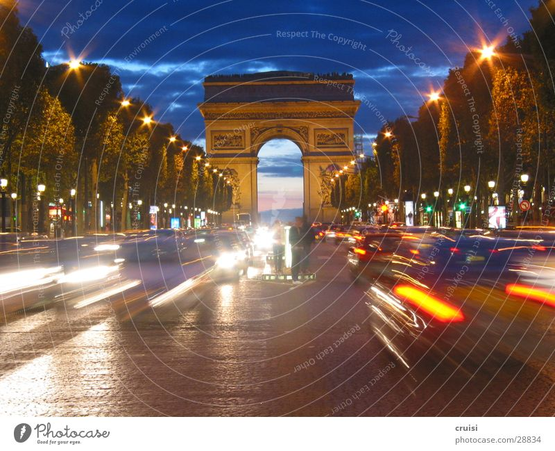 Sky Blue Car Transport Speed Europe Paris France Manmade structures Night Impressive Arc de Triomphe Champs-Elysées