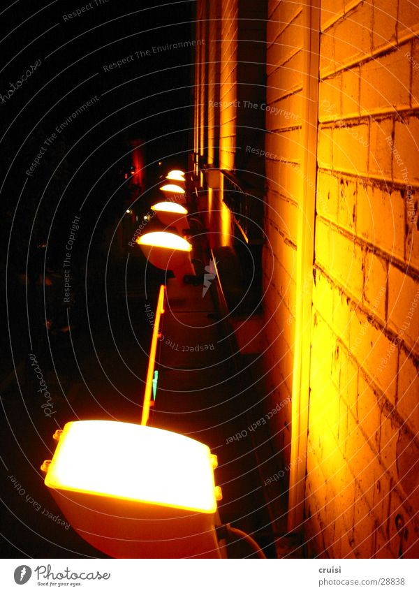 Black Yellow Lamp Dark Building Bright Orange Architecture Facade Brick Floodlight Seam