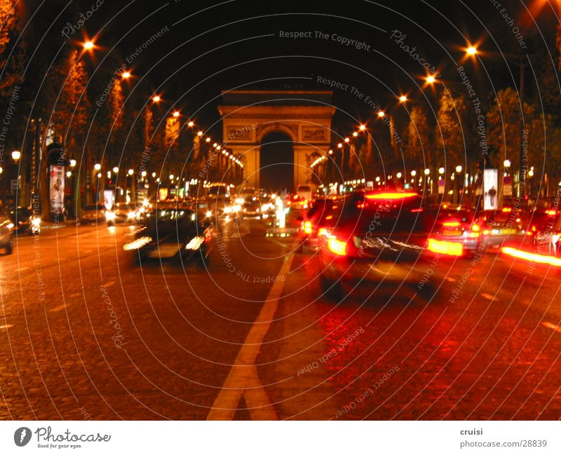 Champs Elysees Paris France Champs-Elysées Transport Night Dark Black Red Traffic jam Chaos Speed Europe Arc de Triomphe Orange