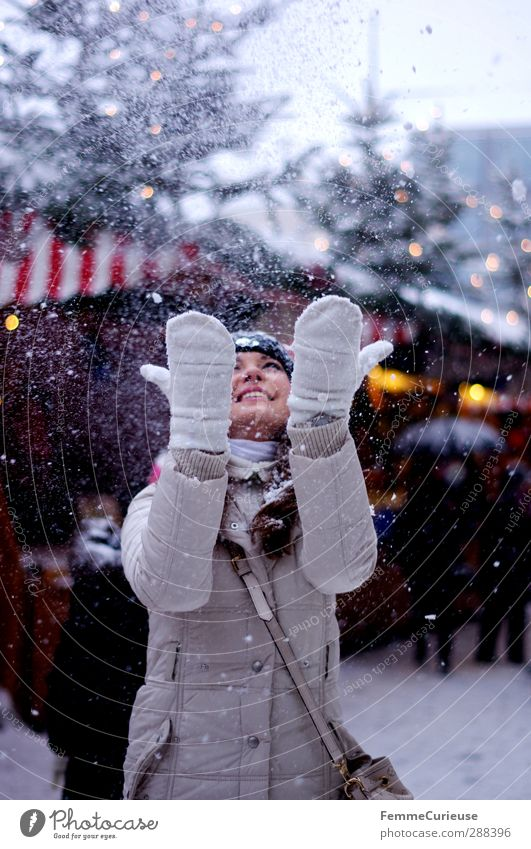Snowflakes, white skirts. :-) Feminine Young woman Youth (Young adults) Woman Adults 1 Human being 18 - 30 years Joy Moody Christmas & Advent Winter Snowfall