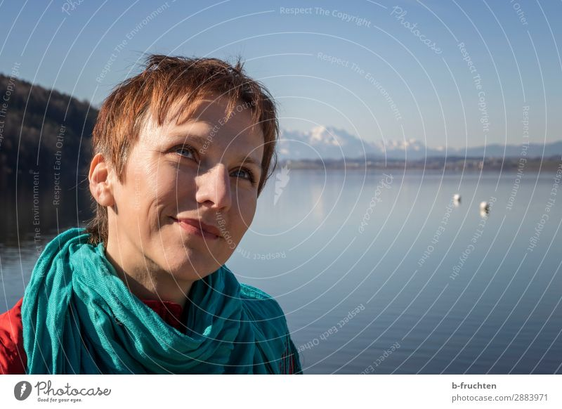Woman at the lake, portrait Vacation & Travel Adults Face 1 Human being 30 - 45 years Nature Landscape Sky Spring Alps Mountain Lake To enjoy Happiness