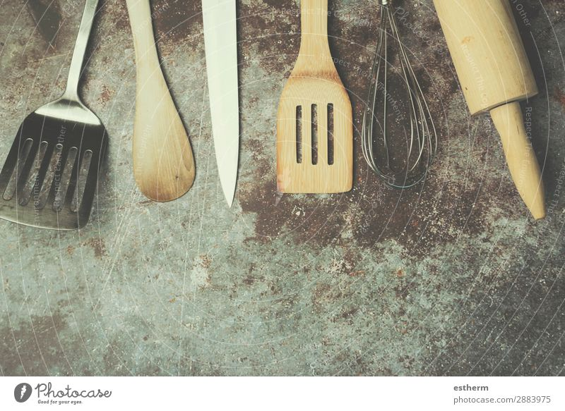 Kitchen Utensils Cutlery Knives Spoon Lifestyle Design Table Restaurant Work and employment Profession Gastronomy Tool Wooden spoon Metal Steel Diet Feeding