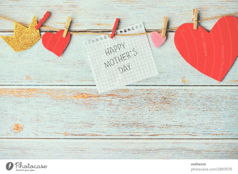 happy Mother's Day Joy Decoration Table Feasts & Celebrations Adults Family & Relations Infancy Paper Wood Heart Kissing Love Happiness Red Emotions Together