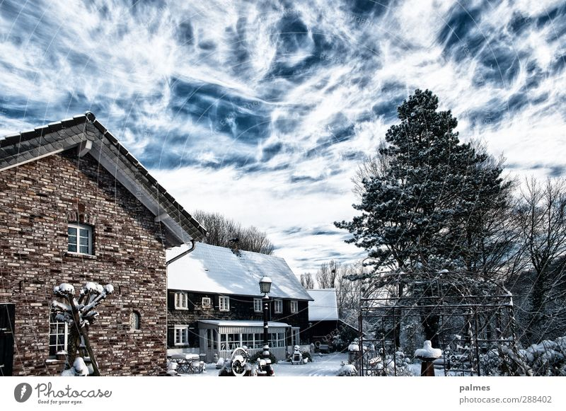 Home Sweet Home Winter Beautiful weather Snow House (Residential Structure) Slate Brick Lantern Clouds in the sky Cloud cover Colour photo Exterior shot