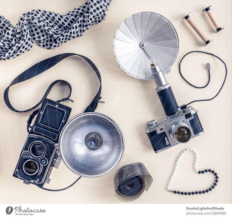 Vintage photo cameras and accessories Laboratory Camera Accessory Jewellery Scarf Old Retro Blue Black White Colour Nostalgia Photography flash vintage Antique