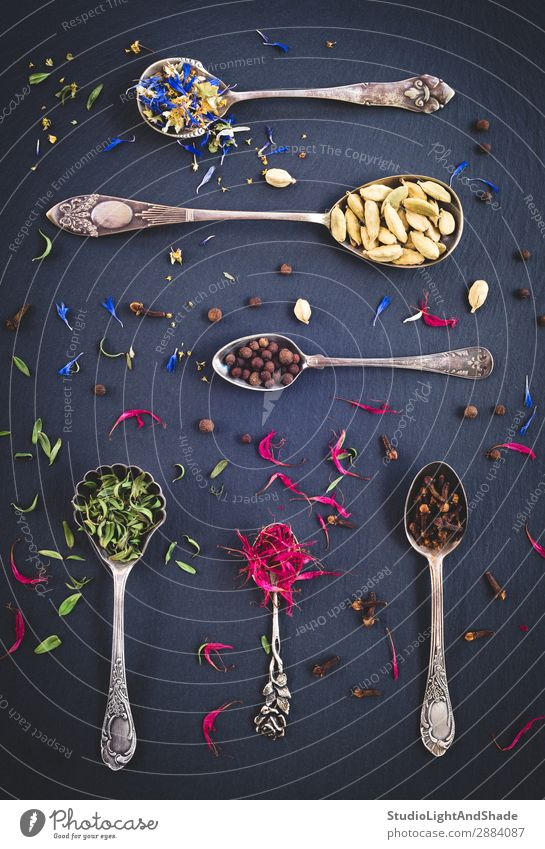 Silver spoons full of spices and herbs Nature Blue Colour Beautiful Green Red Flower Leaf Dark Black Natural Design Metal Retro Herbs and spices