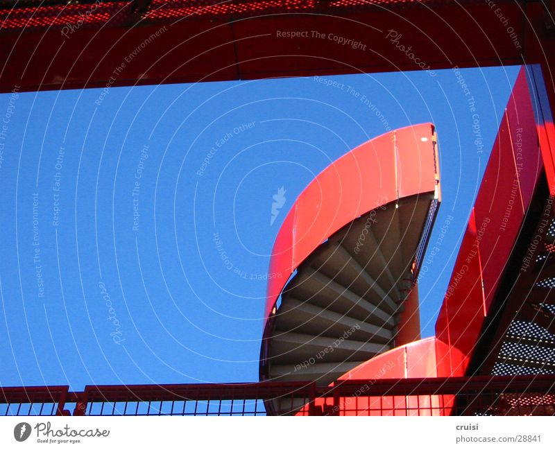 red staircase Paris Red Art Round Architecture Parc de la Vilette Stairs Blue Sky Metal