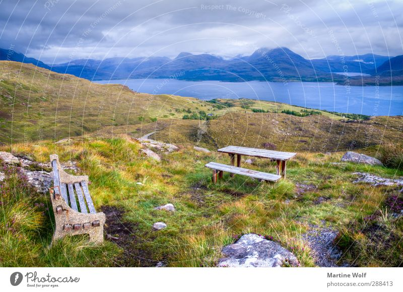 Bench with view Vacation & Travel Trip Far-off places Nature Landscape Plant Clouds Grass Hill Mountain Bay applecross Great Britain Scotland Europe Break Calm