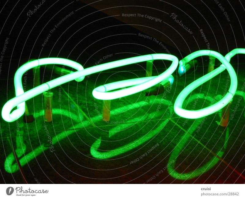 neon sign Neon sign Green Light Neon light Curved Round Night Black Reflection Obscure Characters Gas cursive Reaction