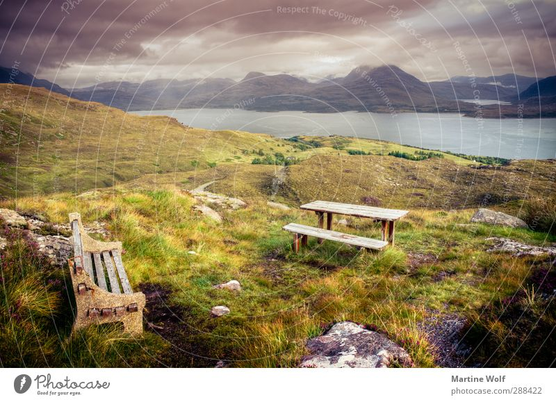 Bench with view 2 Vacation & Travel Trip Far-off places Freedom Nature Landscape Grass Bushes Moss Hill Mountain Bay Fjord applecross Great Britain Scotland