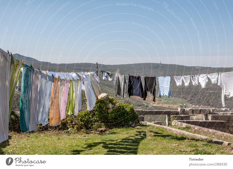 large wash Garden Landscape Wall (barrier) Wall (building) Clothing Cleaning Washing day Laundry Textiles Croatia big wash Clothesline hygiene Alley Southern