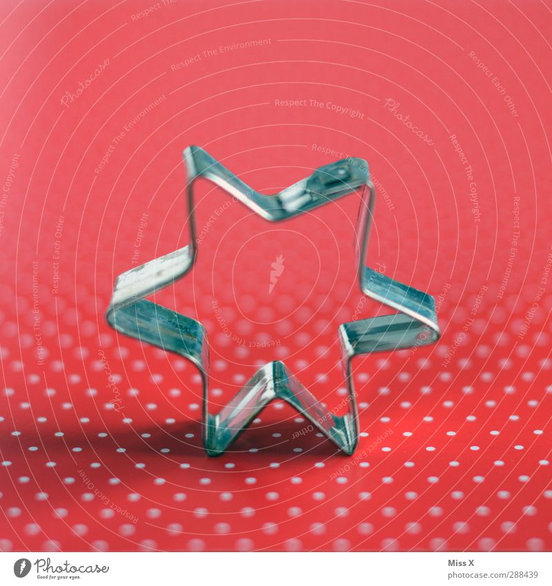 Point Point Star Nutrition Red Silver Baking tin Christmas cutter Star (Symbol) star extender Cookie Christmas biscuit Polka dot Colour photo Close-up Pattern
