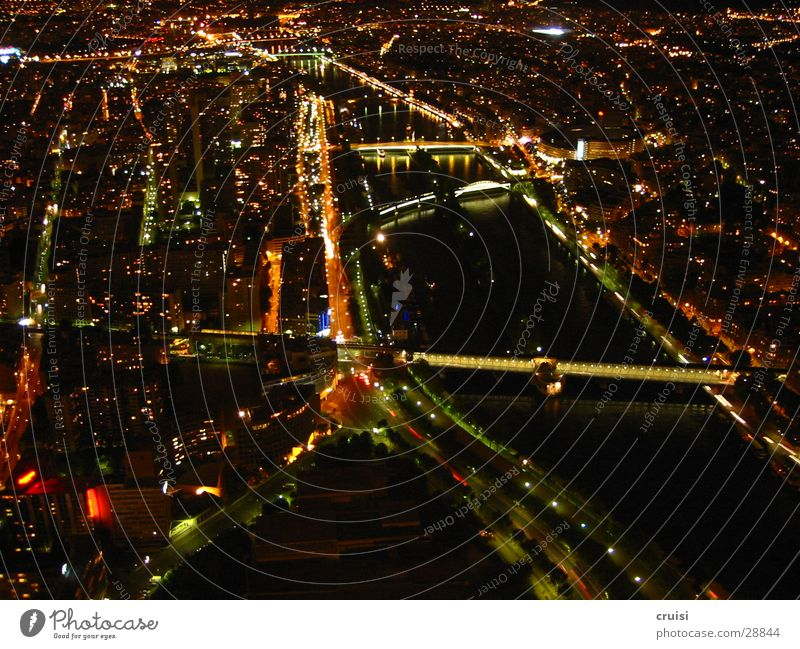 Paris by Night Seine France Light Dark Black Romance Europe Eiffeltrum Bridge Lighting Water Level