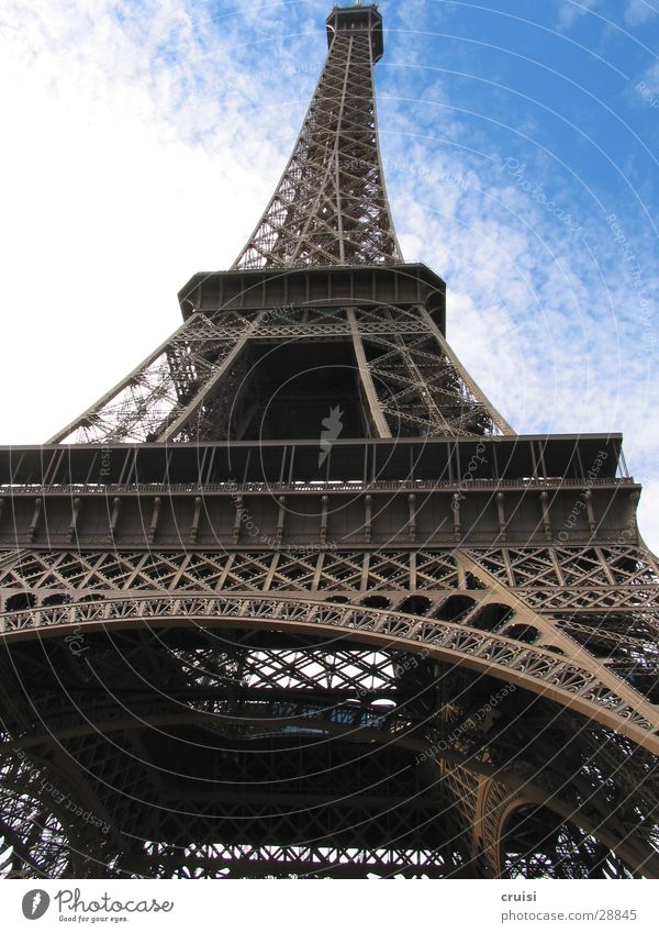 Eiffel Tower Paris France World exposition Steel Elevator Clouds Europe Level Sky Vertigo Point Blue