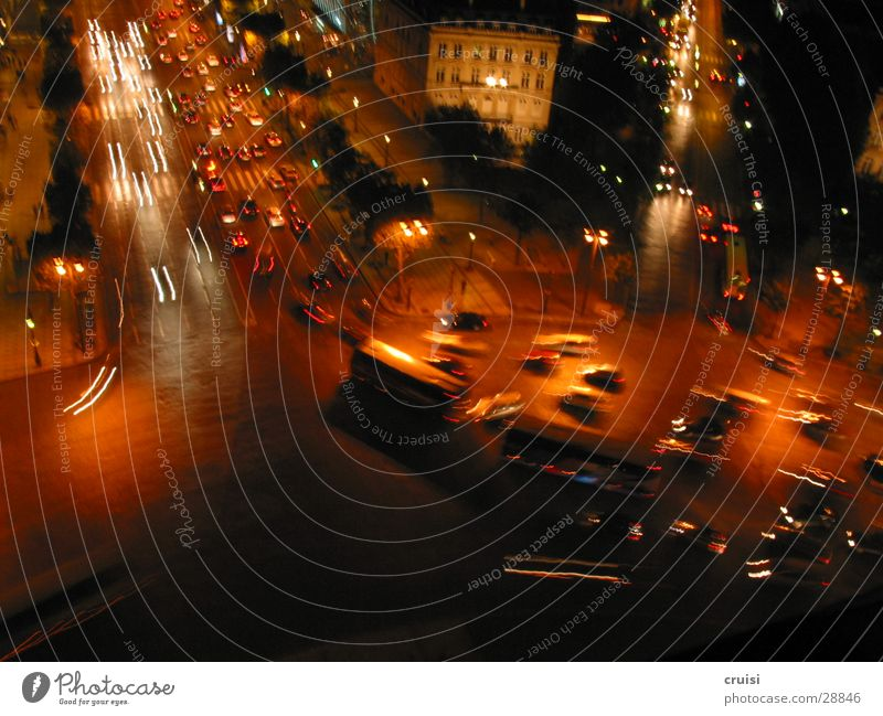 Paris from above Transport Traffic jam Night Traffic circle Blur Driving Chaos Car Bus Arc de Triomphe