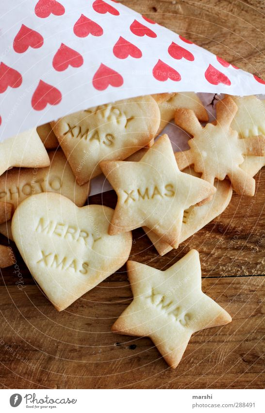baked with love.... Food Dessert Candy Nutrition Eating Delicious Christmas & Advent Cookie Baker Characters Symbols and metaphors Wooden table Sweet Heart Love