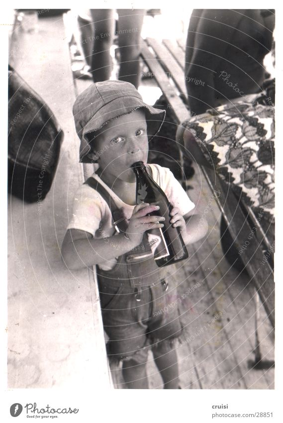 Beer :) Child Vacation & Travel Bottle of beer Summer Man Black & white photo