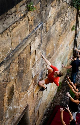 BOULDER Lifestyle Elegant Style Joy Leisure and hobbies Sports Climbing Mountaineering Human being Masculine Young man Youth (Young adults) 4 18 - 30 years