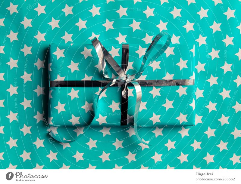 Christmas & Advent Feasts & Celebrations Stars Esthetic Gift Kitsch Turquoise Surprise Silver Anticipation Packaging Bow Camouflage Childlike Gift wrapping