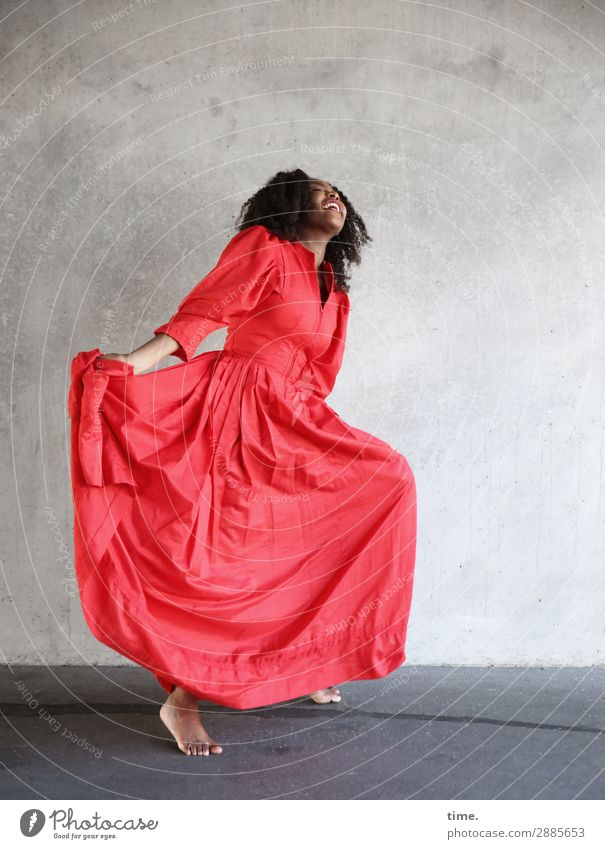 arabella Feminine Woman Adults 1 Human being Wall (barrier) Wall (building) Dress Barefoot Brunette Long-haired Curl Relaxation To hold on Laughter Dance