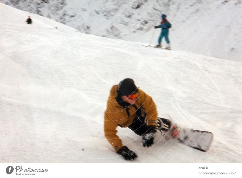 White Joy Winter Cold Snow Sports Speed Touch Posture Upward Curve Downward Austria Swing Snowboard Winter vacation
