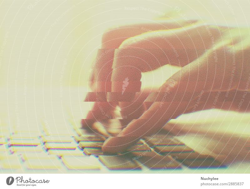 hands typing on computer with glitch effect Woman Hand Adults Business Playing Work and employment Office Modern Technology Action Computer Touch Internet