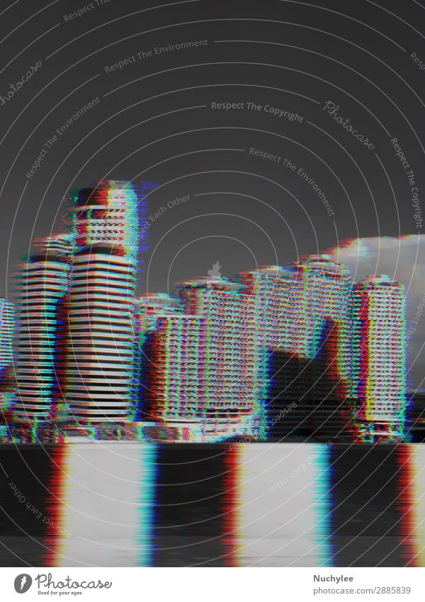modern buildings with glitch effect Design Wallpaper Science & Research Business Technology Town Building Architecture Street Line Movement Modern Speed