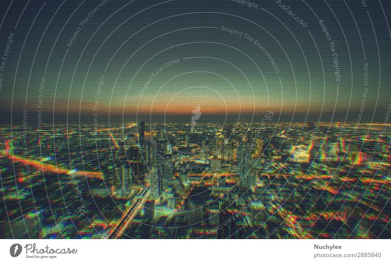 Cityscape of modern buildings in the city night background with digital glitch effect grid abstract backdrop business concept cyberspace data design element