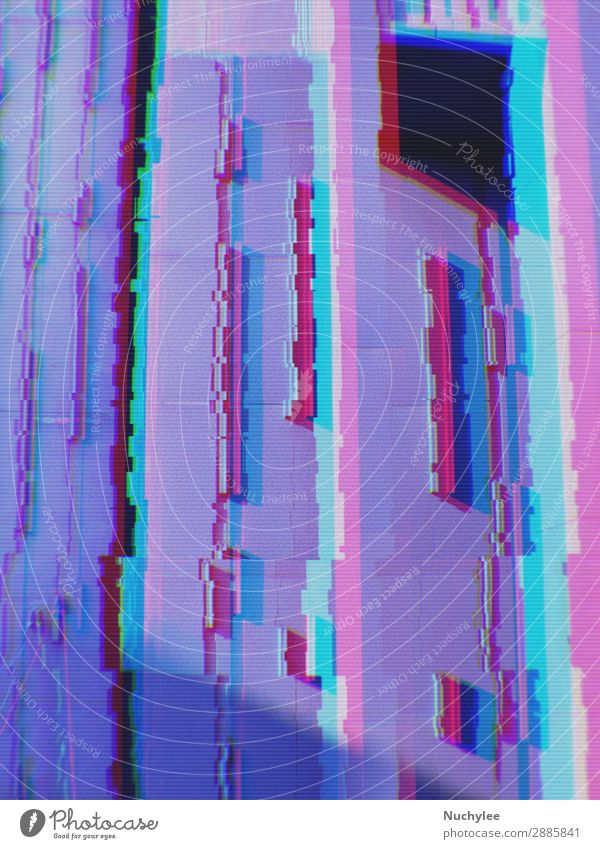 Abstract of modern buildings in the city background with digital glitch effect grid abstract backdrop business concept cyberspace data design element fractal