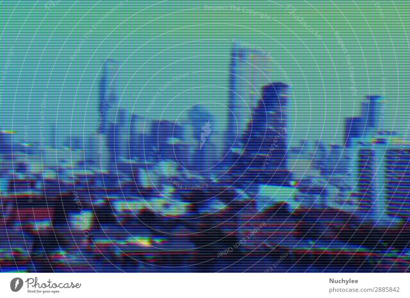Modern buildings and cityscape background with digital glitch effect grid abstract backdrop business concept cyberspace data design element fractal futuristic