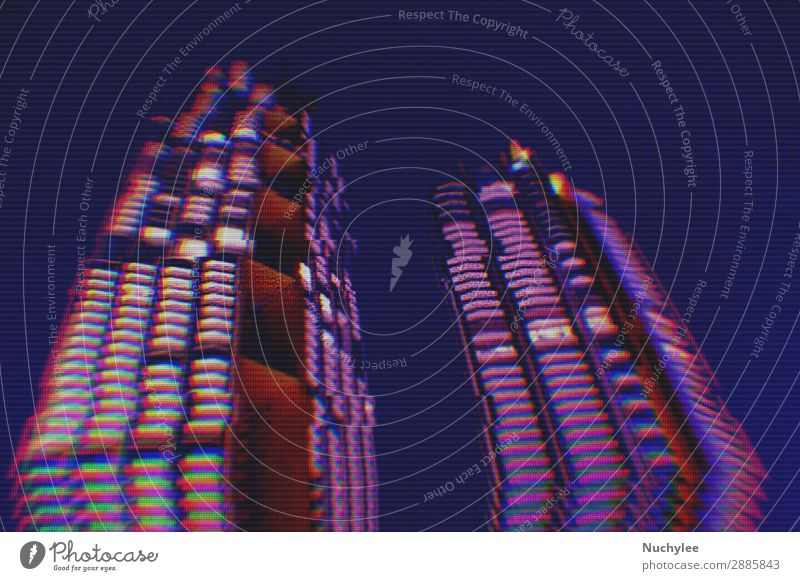 city night background with digital glitch effect Design Wallpaper Science & Research Business Technology Town Building Architecture Street Line Movement Modern