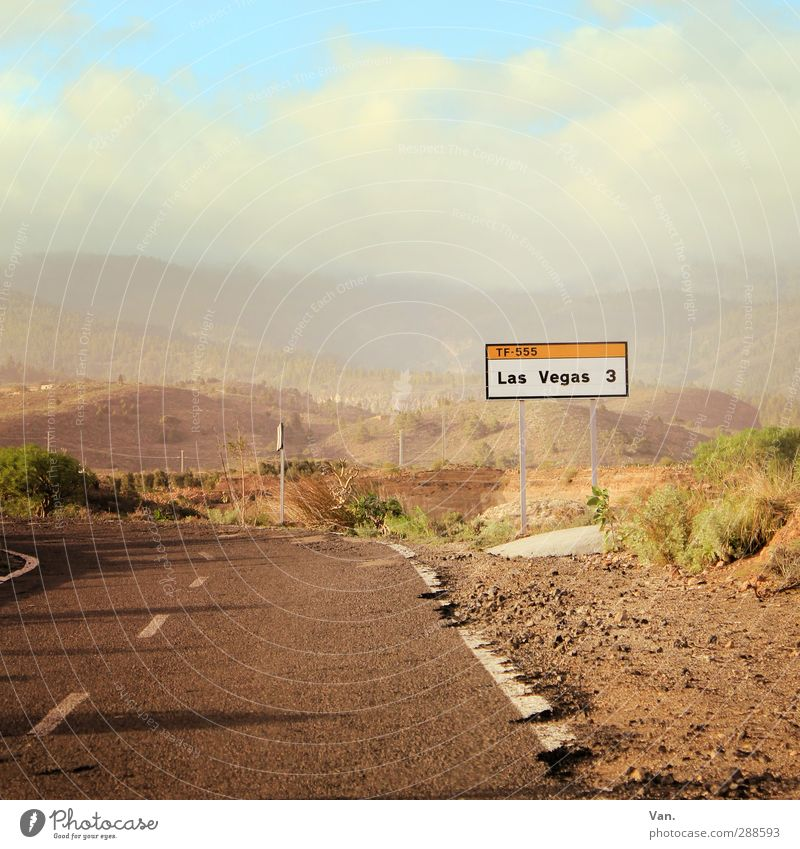Viva Las Vegas Landscape Earth Sky Clouds Bushes Hill Rock Tenerife Street Driving Signs and labeling Road sign Colour photo Multicoloured Exterior shot