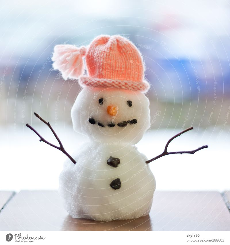 frostbite Snowman Miniature cap Winter Buttons chill Happiness Laughter Woolen hat Weather Climate Leisure and hobbies Creativity wonderland Snow ball
