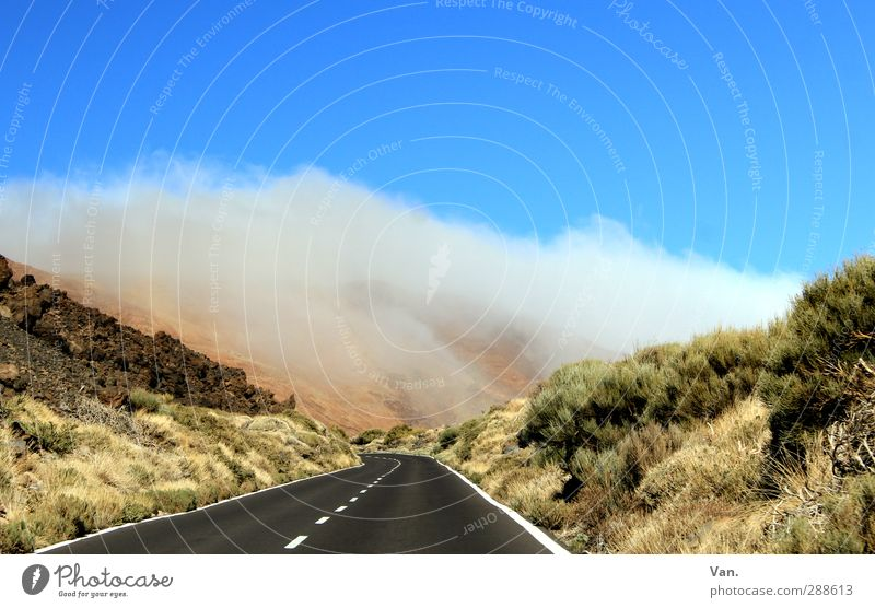 road trip Landscape Sky Clouds Plant Grass Bushes Hill Rock Street Driving Blue Green Colour photo Multicoloured Exterior shot Deserted Copy Space top Day