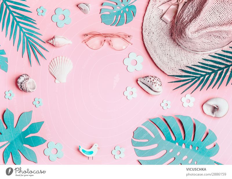 Summer background with sun hat and shells Design Vacation & Travel Summer vacation Sunbathing Beach Leaf Accessory Sunglasses Hat Pink Turquoise