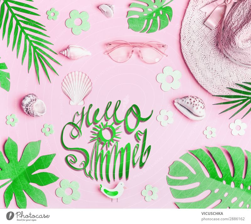 Hello summer. Pastel Pink Summer Accessories Lifestyle Style Design Vacation & Travel Summer vacation Beach Nature Leaf Fashion Accessory Sunglasses Hat Green